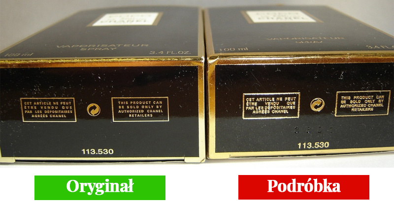 pudełko oryginalnych i podrobionych perfum